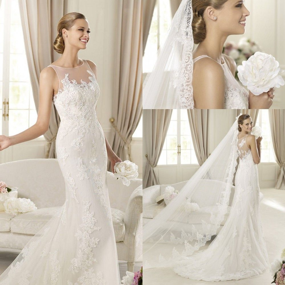 Free wedding dress  Free Shipping  Jewel Collar White Lace Applique Custom made Low