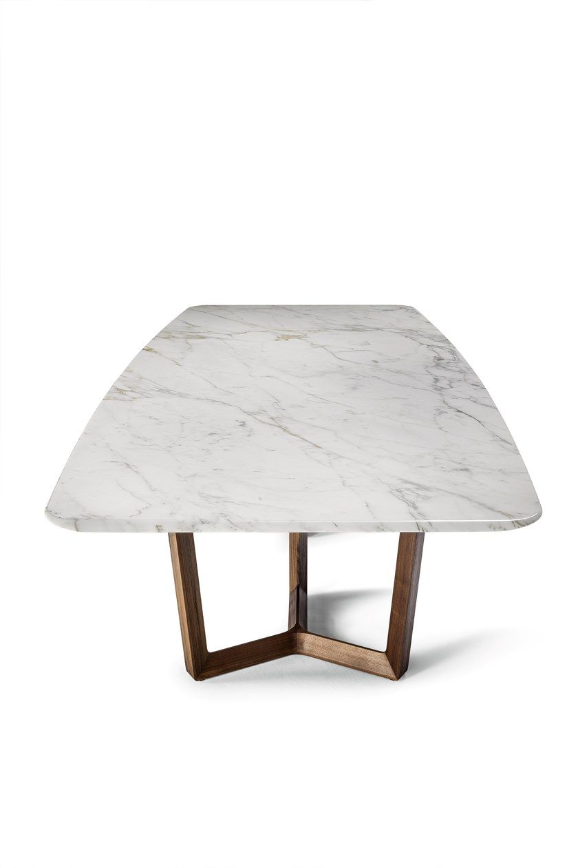 Rectangular Wooden And Marble Table Bolero Ravel By Poltrona Frau Design Roberto Lazzeroni Marble Table Metal Dining Table Marble Tables Design