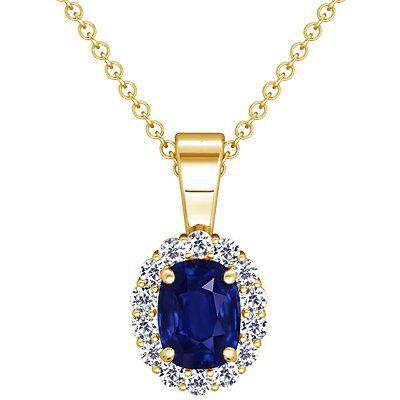 18k yellow gold cushion cut blue sapphire and round diamond 18k yellow gold cushion cut blue sapphire and round diamond pendant aloadofball Image collections