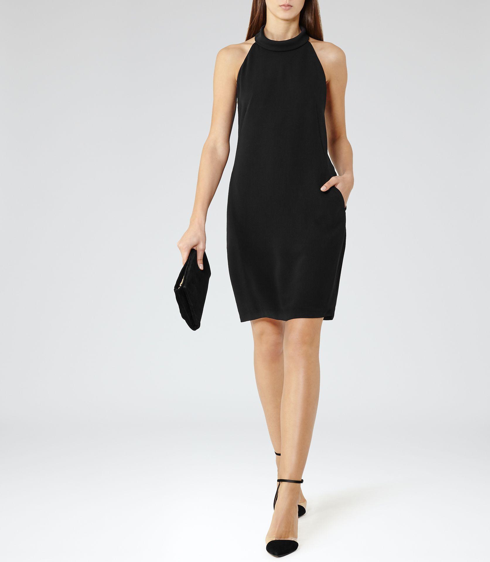 4468253649a 180 Womens Black Open-back Dress - Reiss Venice