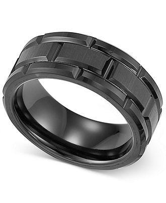 Men S Ring Black Tungsten 8mm Matrix Band In 2018 Rings