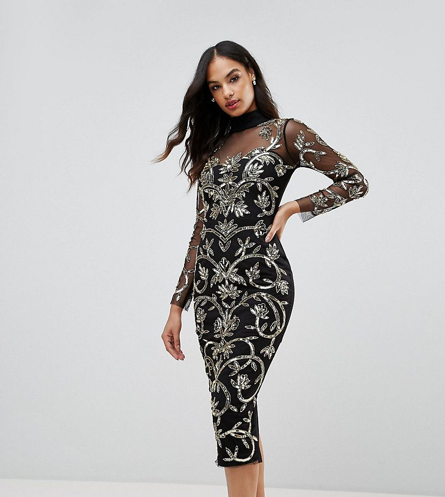Lipsy high neck sequin midi dress with baroque pattern black