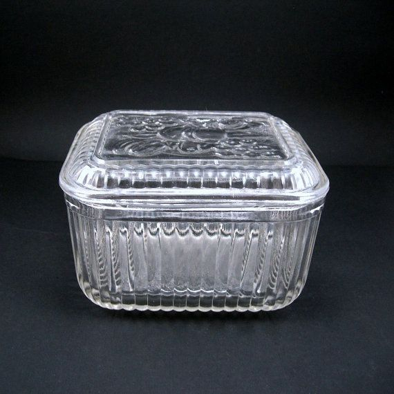 Vintage Glass Refrigerator Dish With Lid Clear Glass Fruit Design