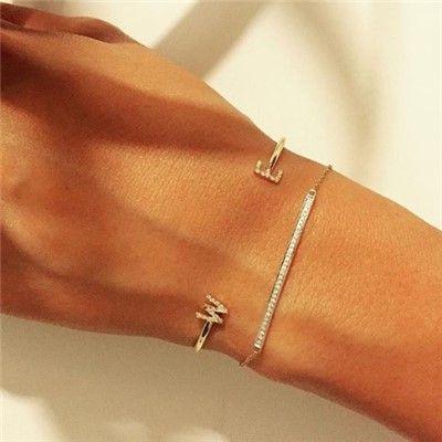 Letters by Zoe Diamond Initial Cuff Bracelet laylagrayce