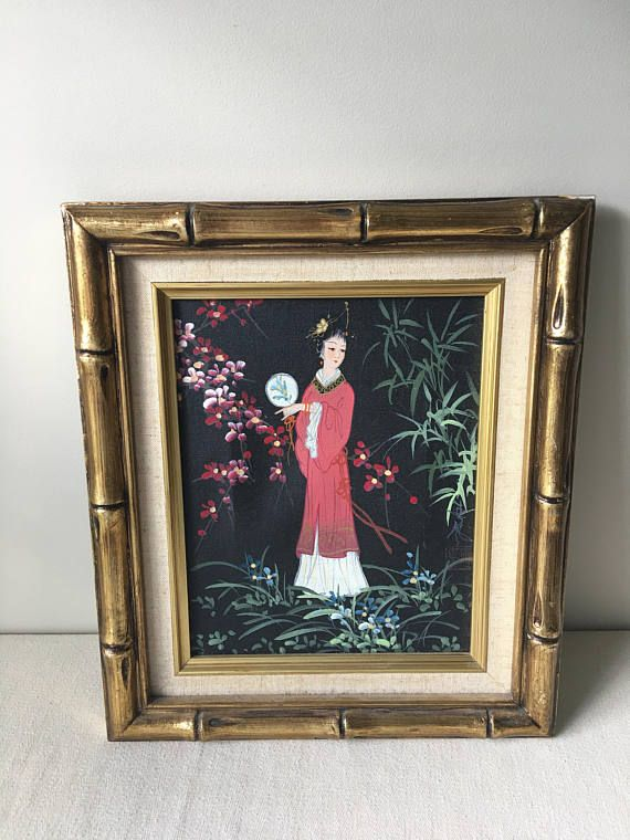 Vintage Oriental Print On Canvas With Gold Bamboo Frame Geisha Geisha Art Asian Art Gold Frame Japan Oriental Art H Vintage Painting Oriental Art Art Pictures