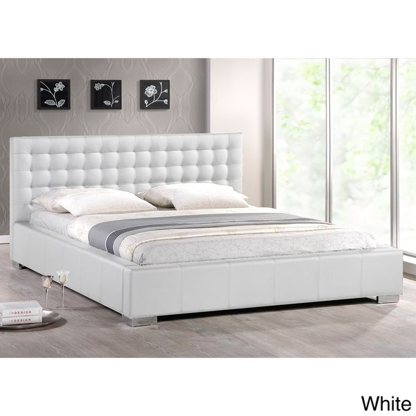 baxton studio madison white modern fullsize bed with upholstered headboard