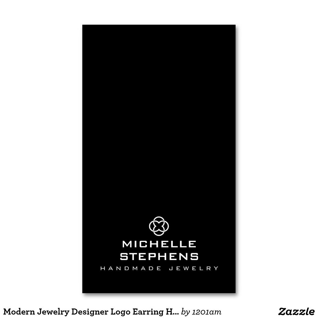 Modern Jewelry Designer Logo Earring Holder Black Business Card