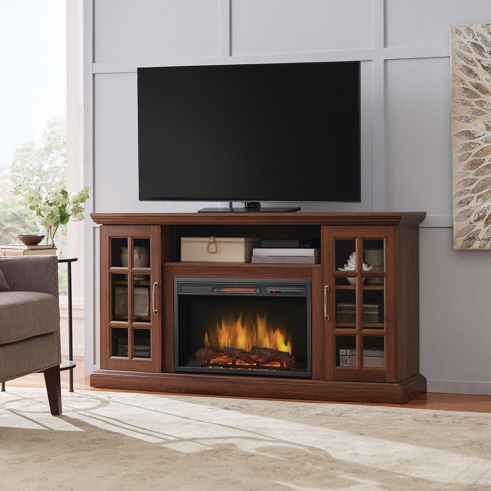 Home Decorators Collection Edenfield 59 In Freestanding Infrared Electric Fireplace Tv Stand In Burnished Walnut 365 302 121 Y The Home Depot In 2021 Fireplace Tv Stand Living Room Tv Stand Electric Fireplace Tv Stand