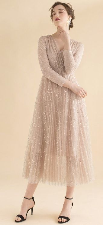 Under the Spotlight Sequins Pleated Maxi Dress in Apricot ...