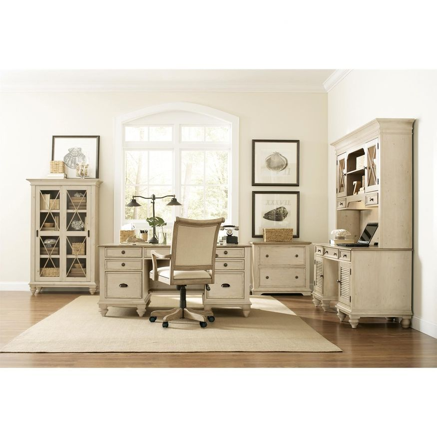 Cottage style home office | White office furniture, White ...