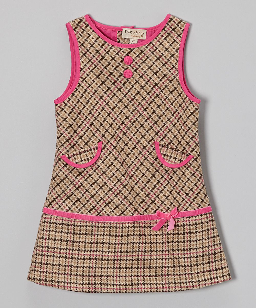 Beige & Pink Plaid Wool-Blend Shift Dress