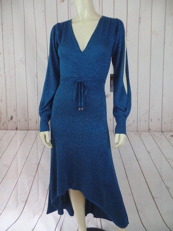 Vertigo Paris Dress S New $280 Teal Metallic Sparkle Fine Sweater Knit Rayon Lurex
