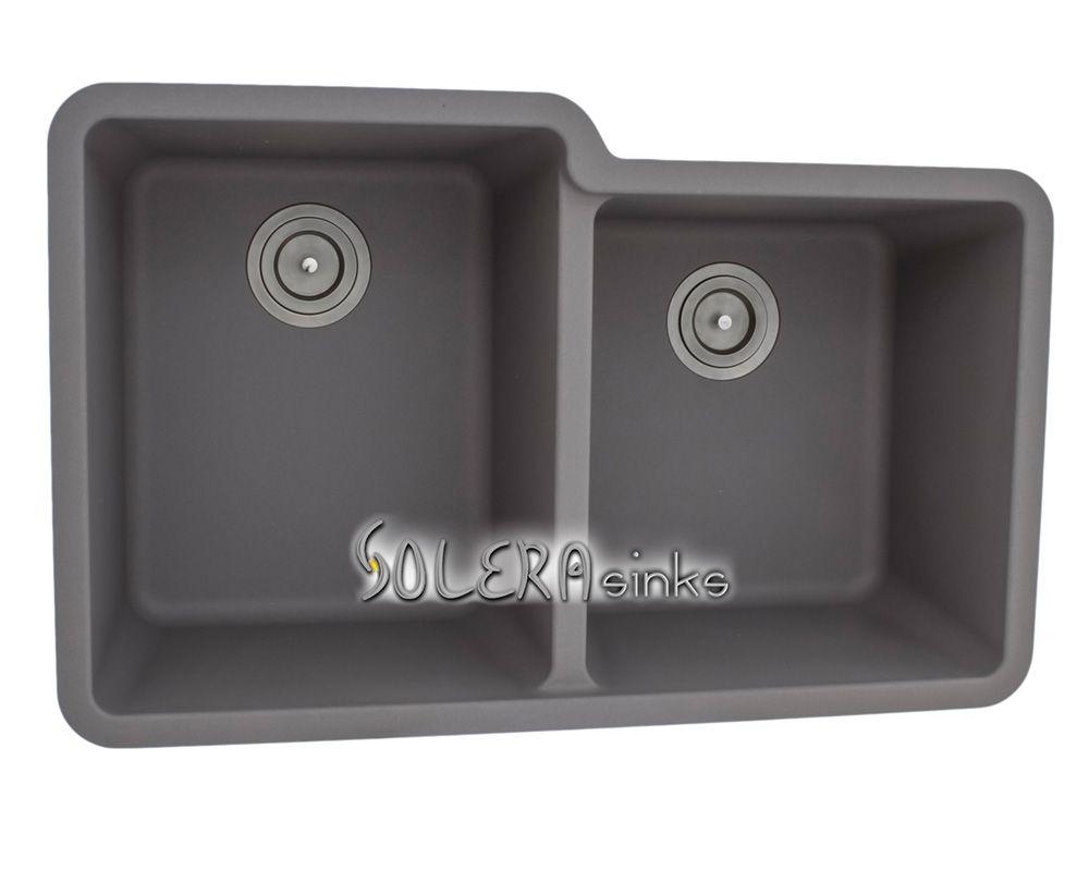 S108 Silver Offset Double Bowl Undermount Solera Sink Granite