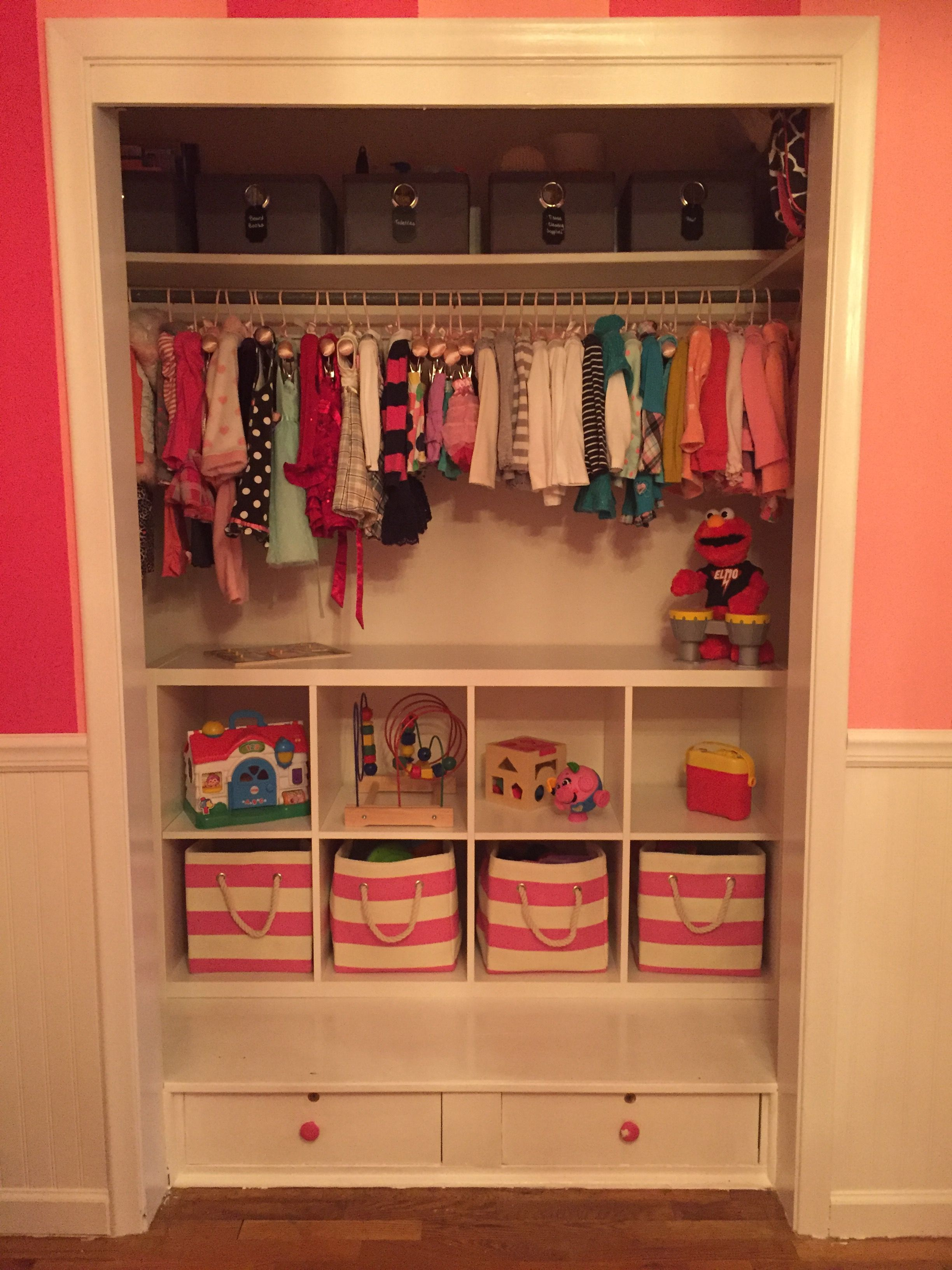 Toddler closet organization ikea shelving land of nod for Hampers for kids rooms