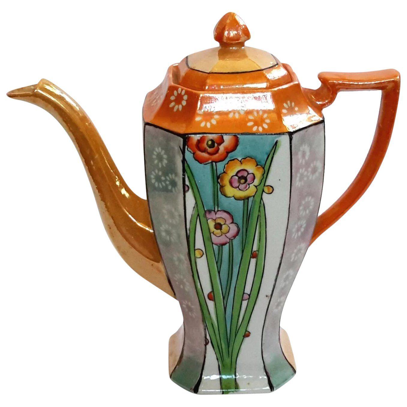 Art Deco Japanese Lusterware Porcelain Teapot  Tea pots vintage