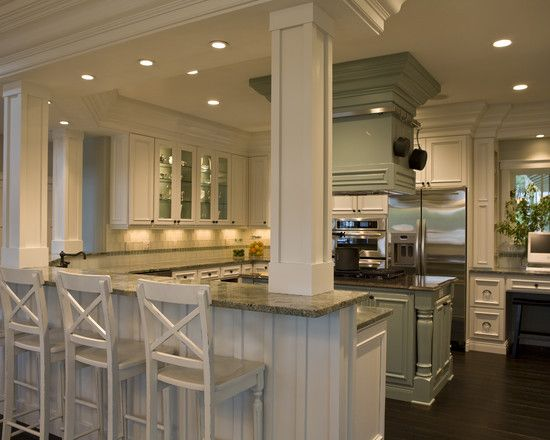 kitchen island with posts traditional kitchen kitchen peninsula design pictures 5219