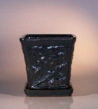 Dark Green Ceramic Bonsai Pot - CascadeAttached Matching Tray7.5 x 7.5