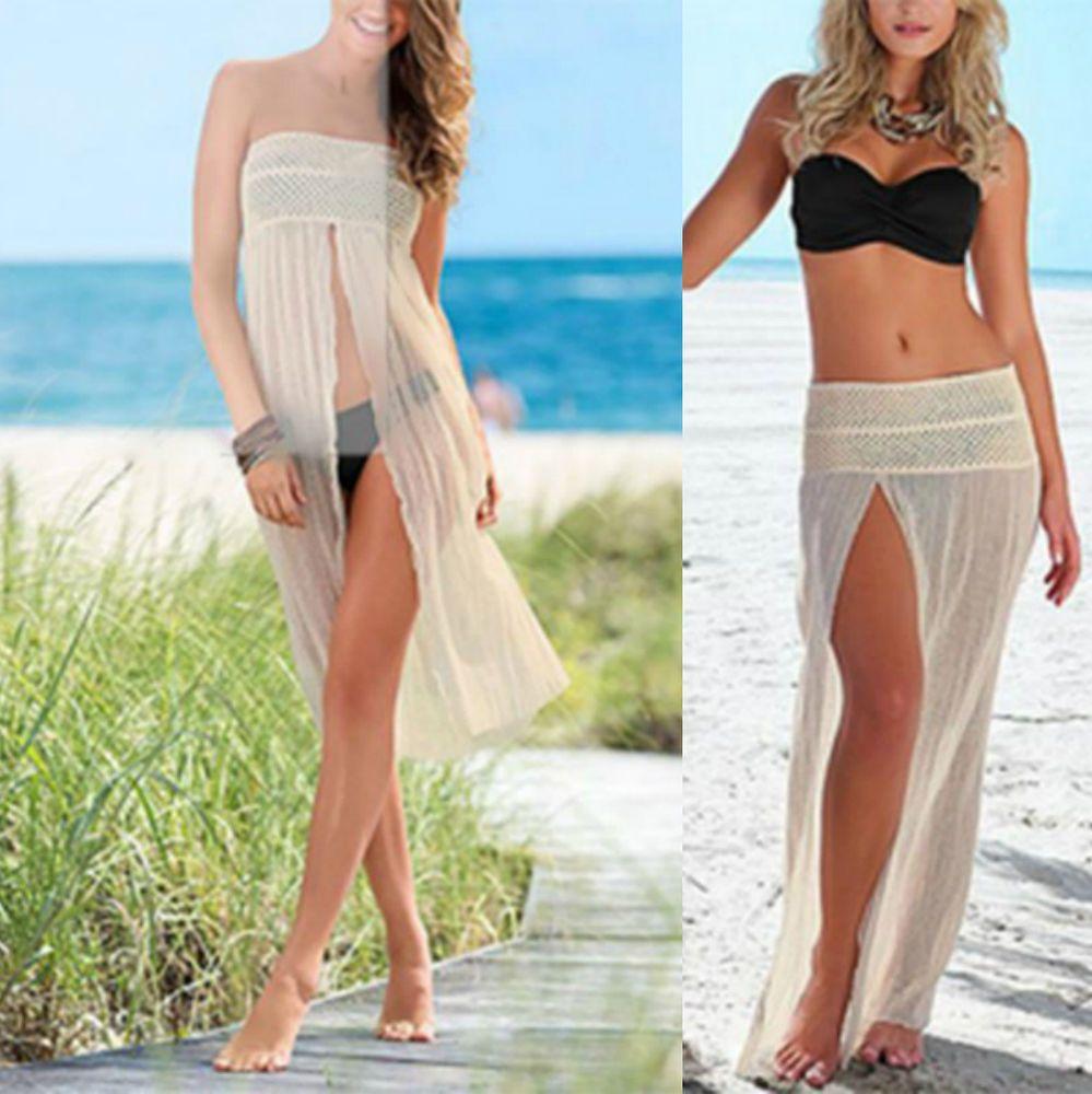 6f9c9f7400 Sexy Women Mesh Hollow Bikini Swimwear Cover Up Beach Dress Crochet Slit  Skirt #Unbranded #CoverUp