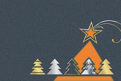 #Weihnachtskarte mit gestanzten #Weihnachtsbäumen in orange