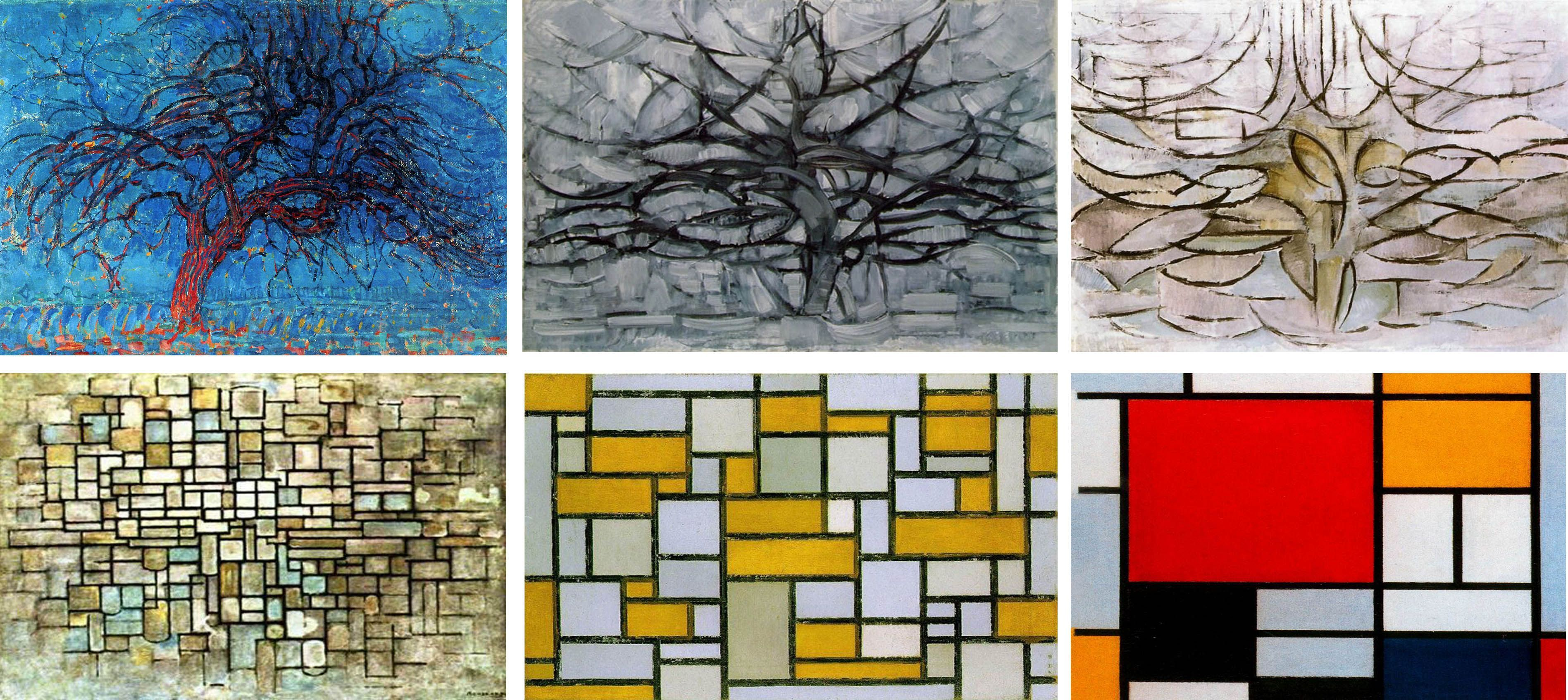 Mondrian, Evolution from tree to abstraction | Soyut, Eskiz