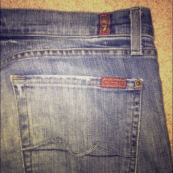 "7 for all Mankind size 31 distressed gently worn 7FAM distressed ""flipflop"" style size 31, right knee hole ""distressed"" was bought this way. Gently worn, no other rips or company made distressing. 7 for all Mankind Jeans Boyfriend"