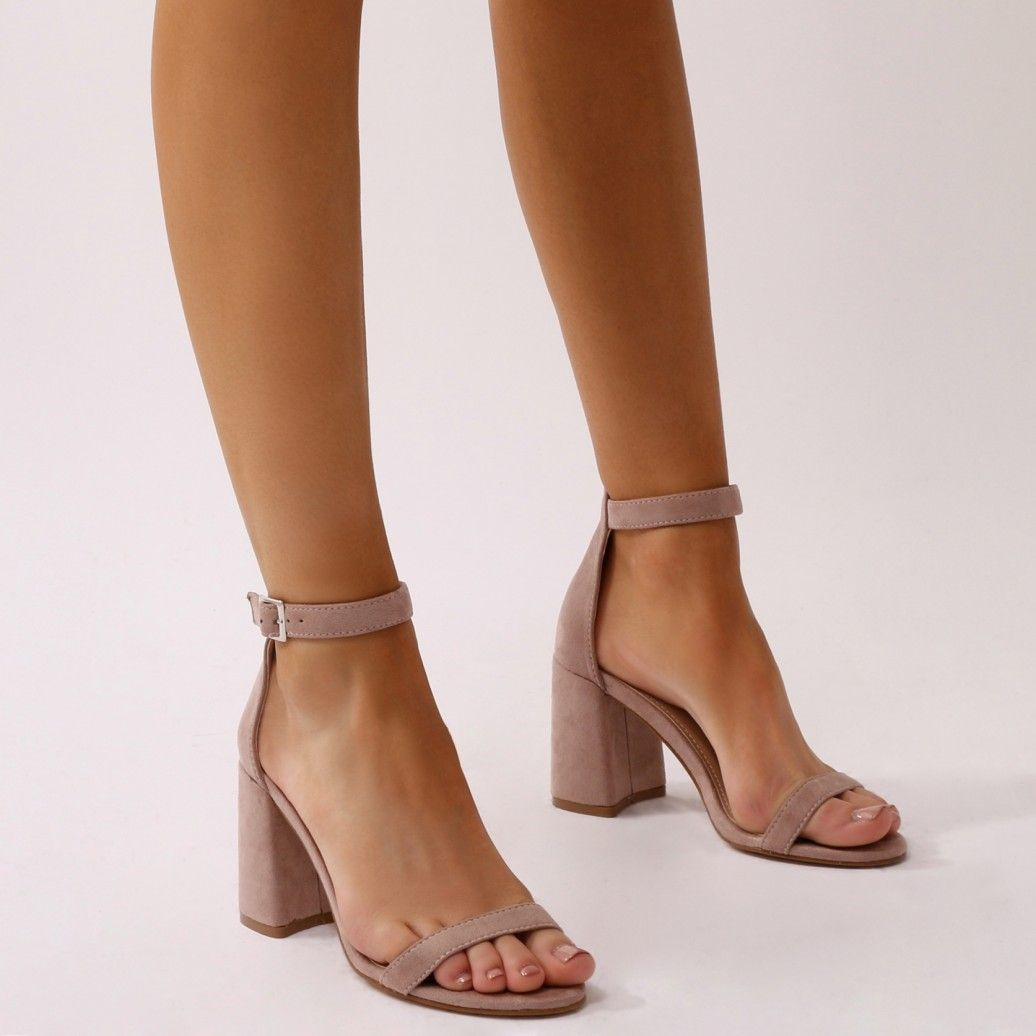 7115c309b Grier Block Heel Barely Theres in Nude Faux Suede. Your ultimate staple block  heel barely theres. Featuring low block heel and simple barely there style.