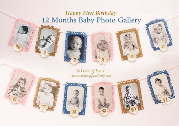 Elegant 12 Months Baby Photo Gallery Banner Garland By Tracesofpearl 4x6 Photo Frames For Diy Party Baby Photo Gallery Diy Party Decorations Photo Bunting
