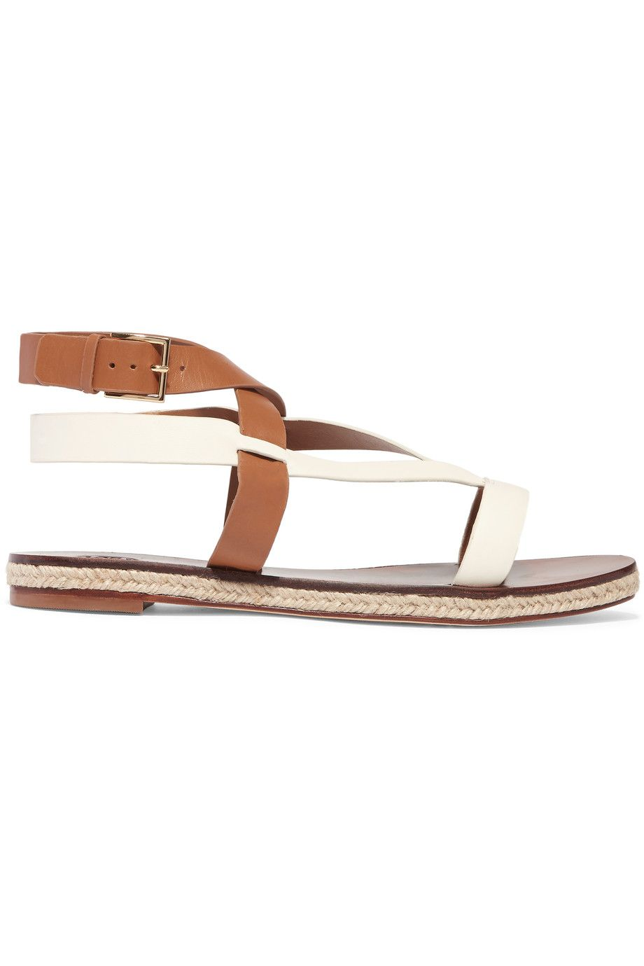 TORY BURCH Marbella Two-Tone Leather Sandals. #toryburch #shoes #sandals