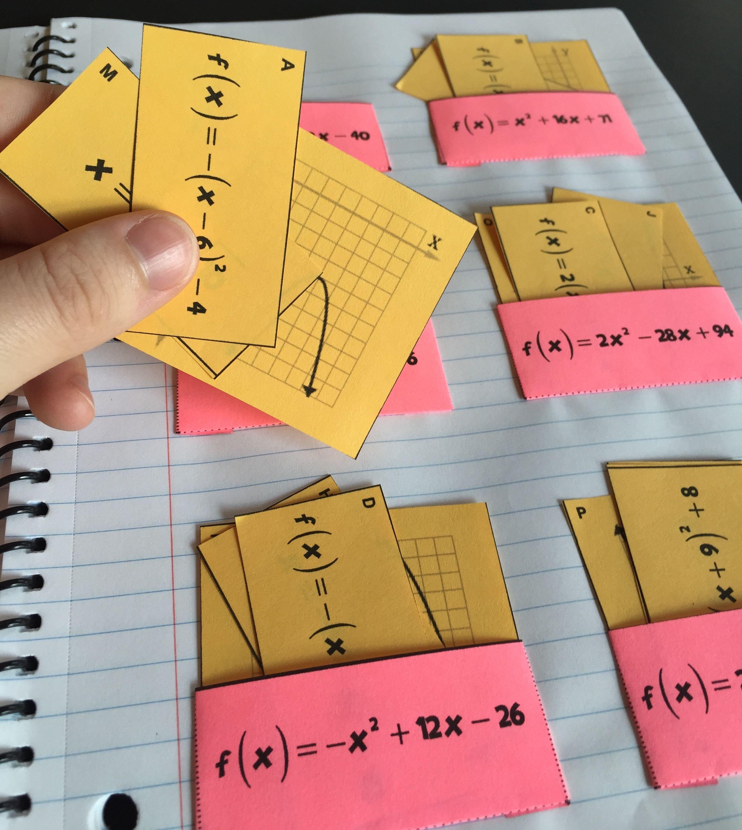 Quadratic Functions Card Sort