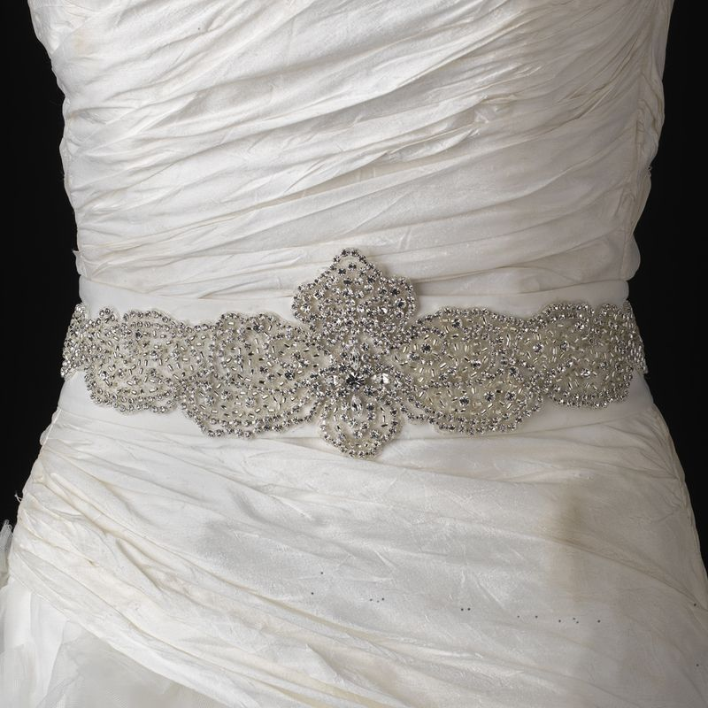 Elaborate Rhinestone and Bead Wedding Dress Belt Sash for extra ...