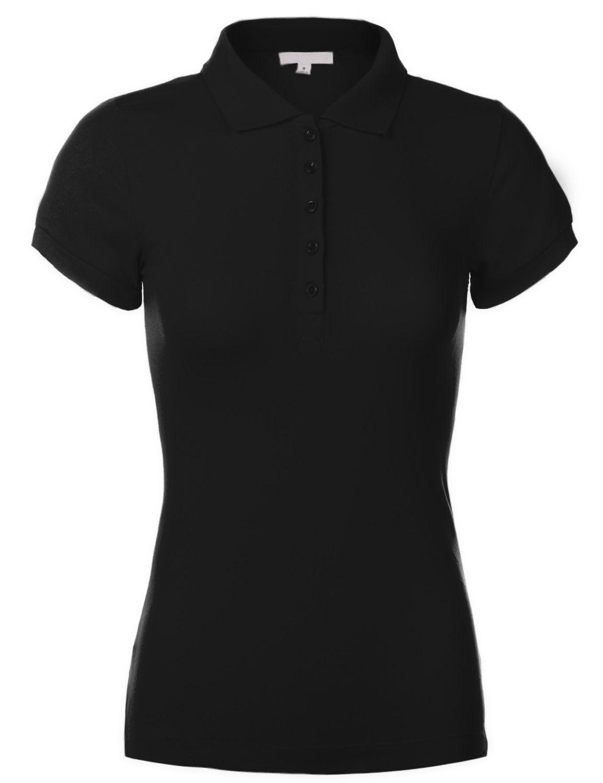 Luna Flower Women's Cotton Slim Fit Short Sleeve Plain Polo Shirts at Amazon Women's Clothing store: