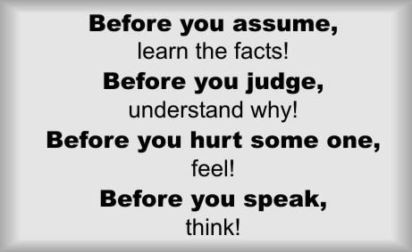 Image result for Think Before You Judge