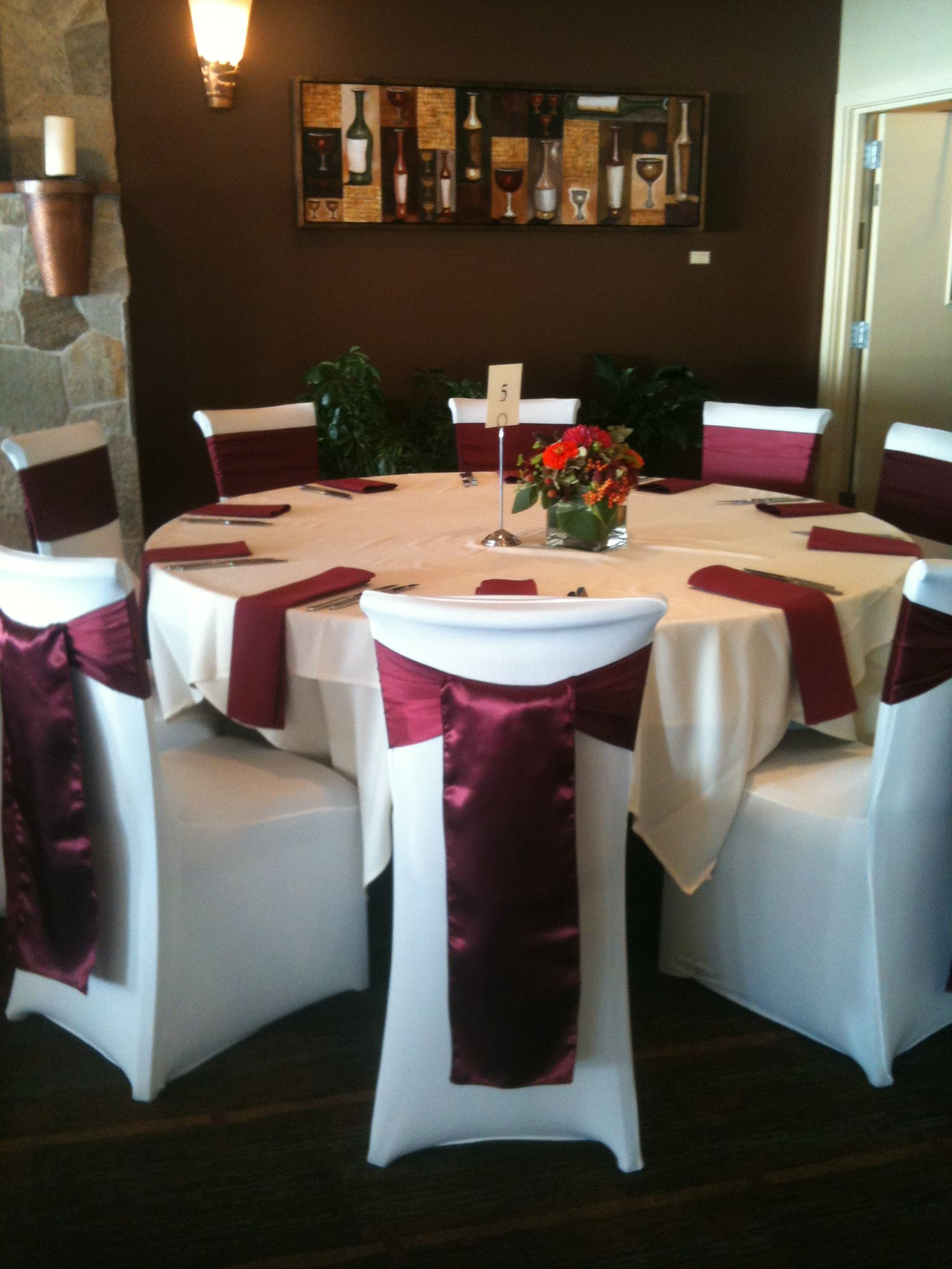 burgundy chair covers wedding discount patio chairs sashes ideas for brides