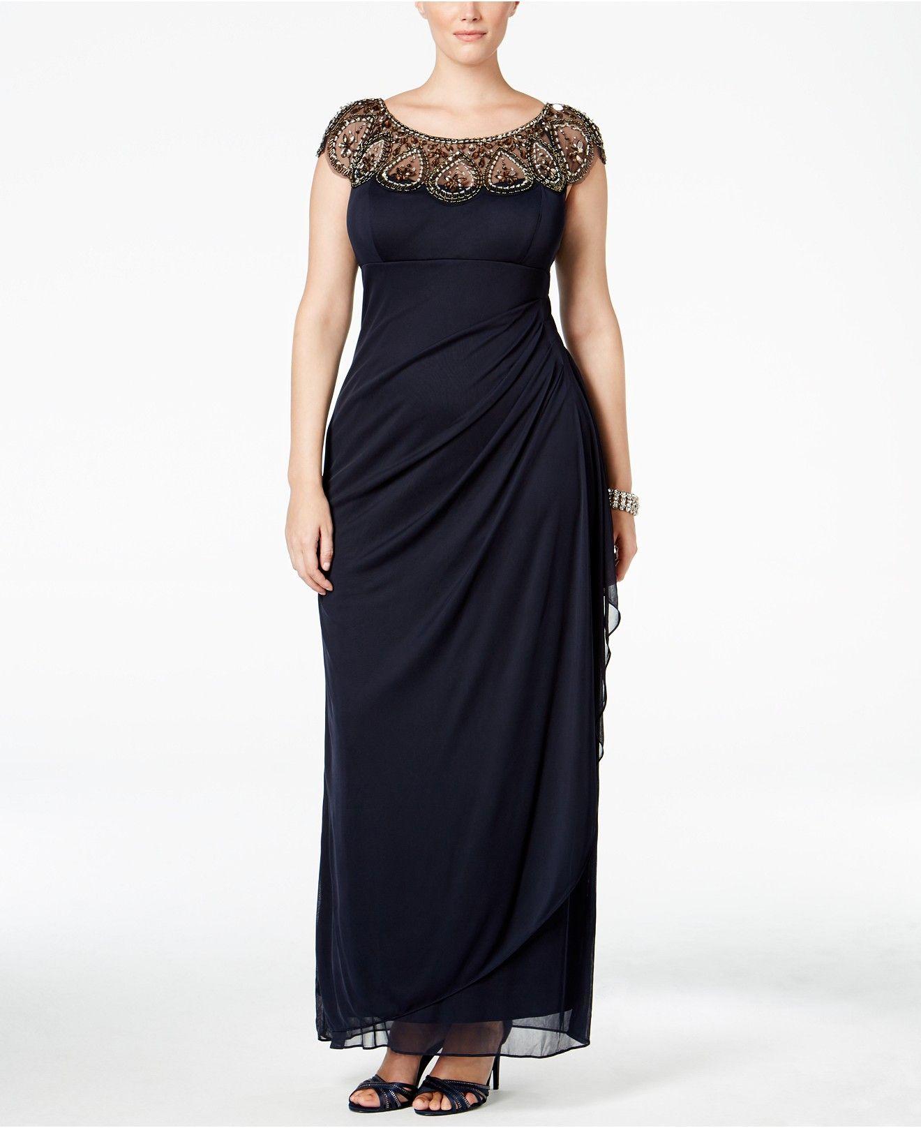 1968b936df4 Xscape Plus Size Illusion Beaded Gown - Dresses - Plus Sizes - Macy s