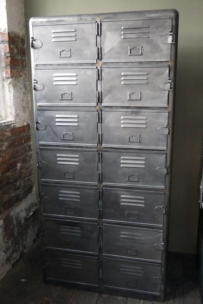 Ancien grand meuble casiers industriel a 14 portes | Industrial ...