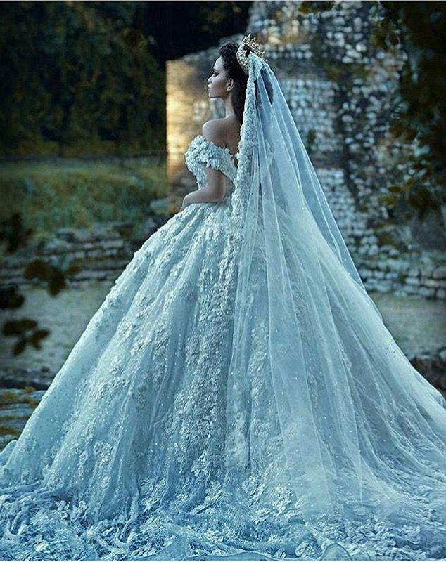 Ice Blue Wedding Gown With Veil Wedding Dresses Blue Wedding Dresses Wedding Dress With Veil