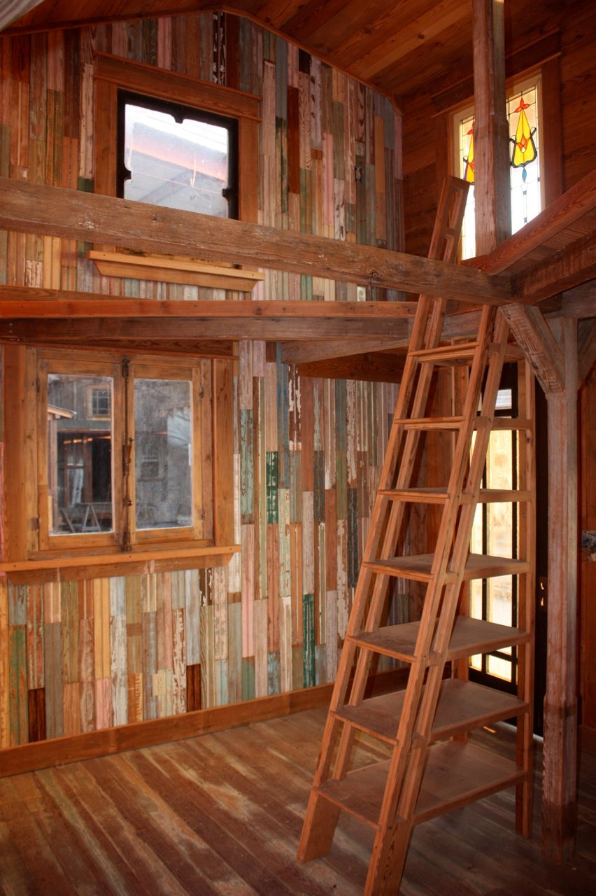 Tiny Texas Deluxe Homesteader Cabin   Main Living During Construction  Showing Beadboard Wall Detail