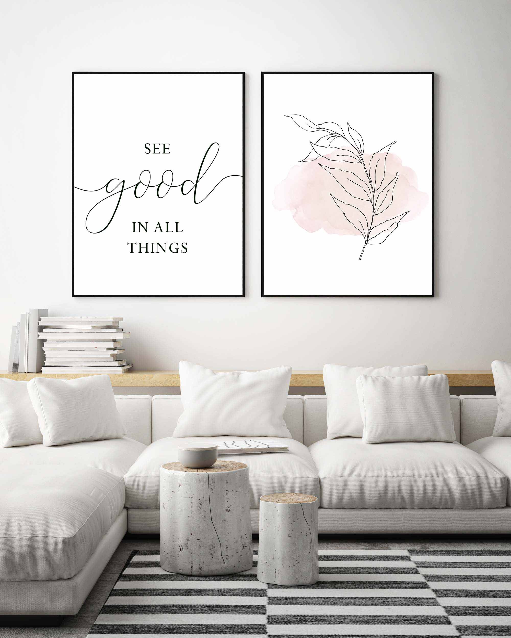 See Good In All Thingsquote Printprintable Wall Artset Of 2 Etsy In 2021 White Living Room Decor Wall Art Living Room Black And White Living Room