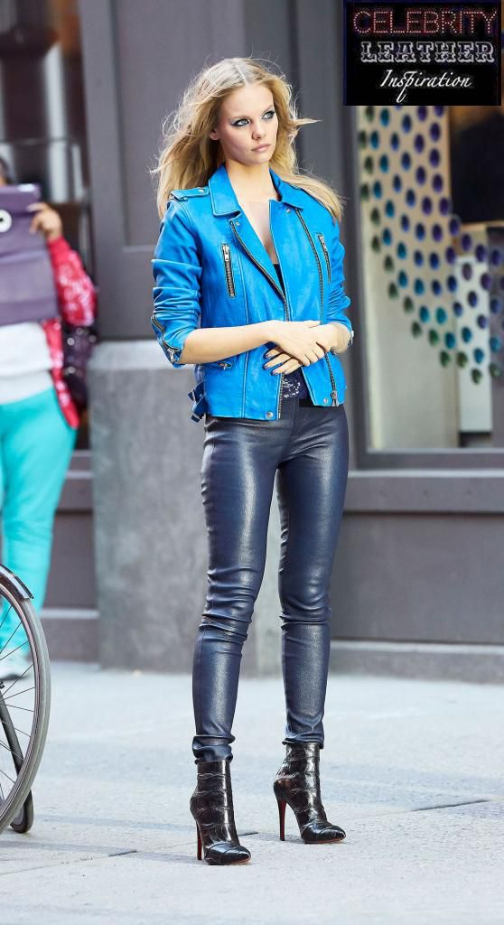 blonde in blue leather moto jacket black leather pants and ankle boots ledermode pinterest. Black Bedroom Furniture Sets. Home Design Ideas