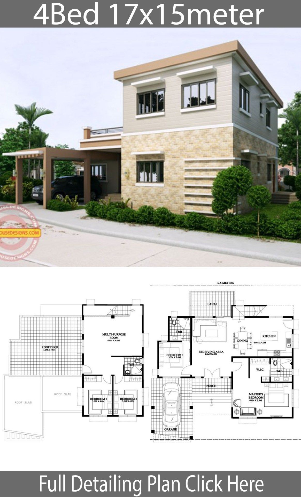 Home Design 17x15m With 4 Bedrooms Home Design With Plansearch House Design Home Building Design 2 Storey House Design