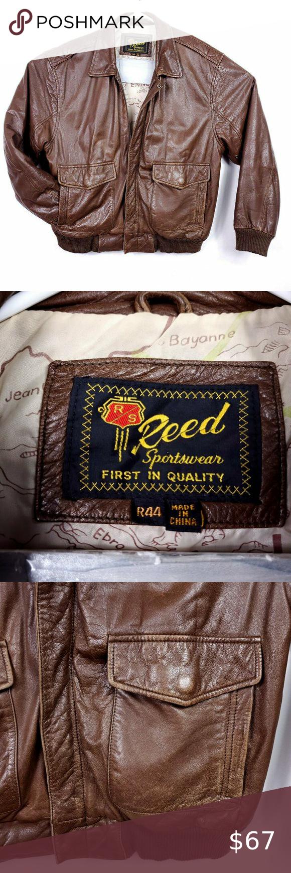 Vintage Reed Sportswear Leather Bomber Jacket in 2020
