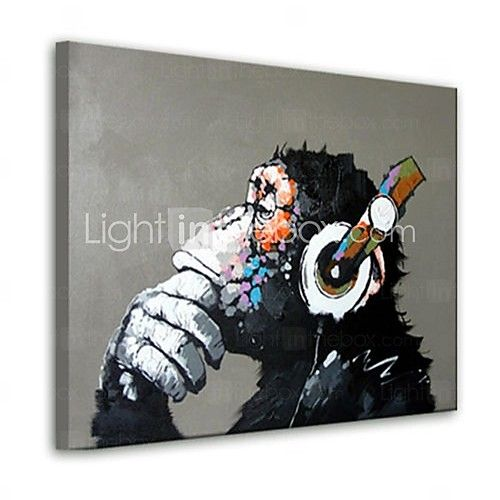 Oil Painting Modern Abstract Gorilla Hand Painted Canvas with Stretched Frame - USD $ 44.99