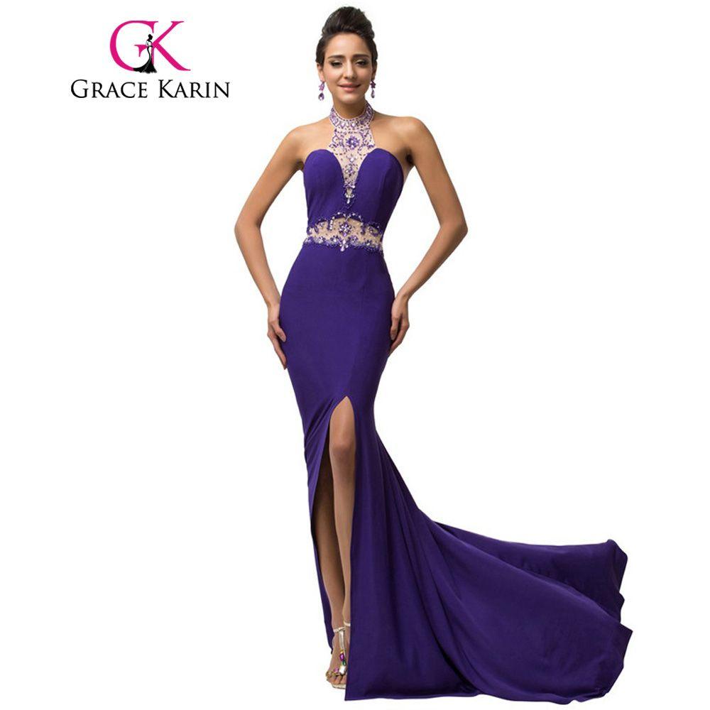 Elegant Micro-Fiber Halter Long Slim Sheath Mermaid Purple Prom ...