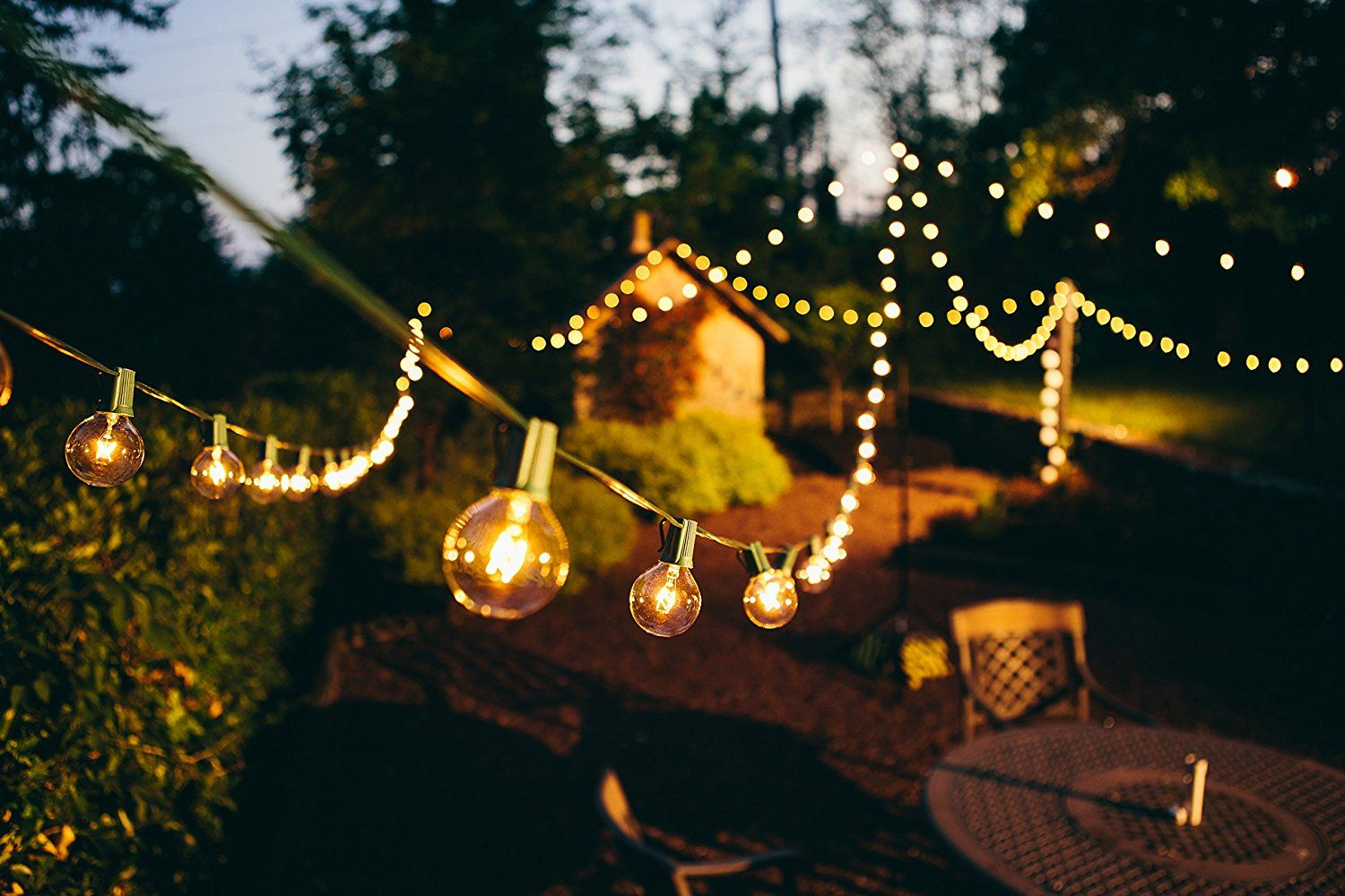 Amazon.com : Brightech   Ambience   Outdoor String Lights With 25 G40 Clear  Globe
