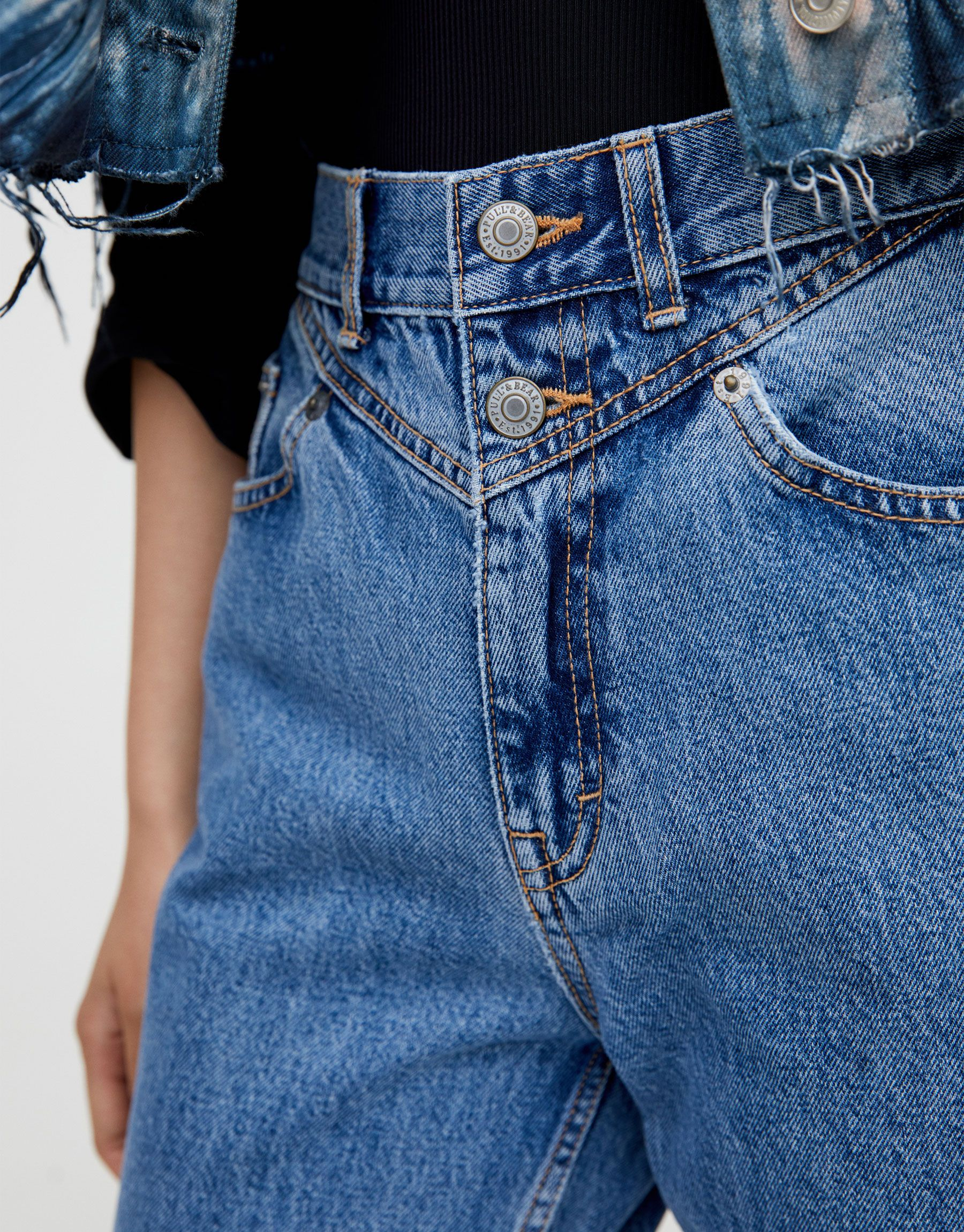 Pull Bear Female Jeans Mom Fit Canesu Azul Clar 42 Denim Details Denim Women Mom Jeans