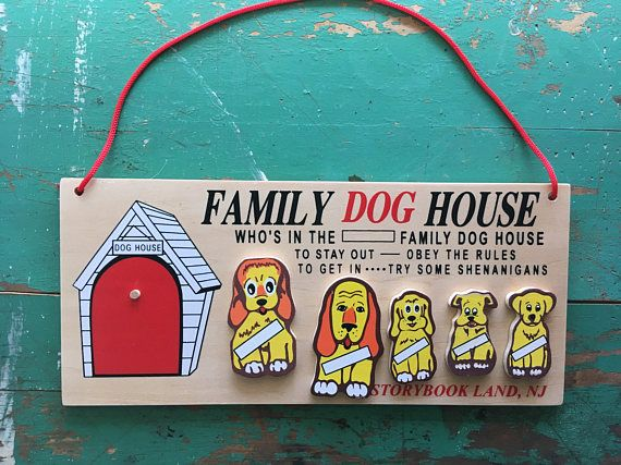 Vintage Novelty Family Dog House Wood Plaque With Dog House