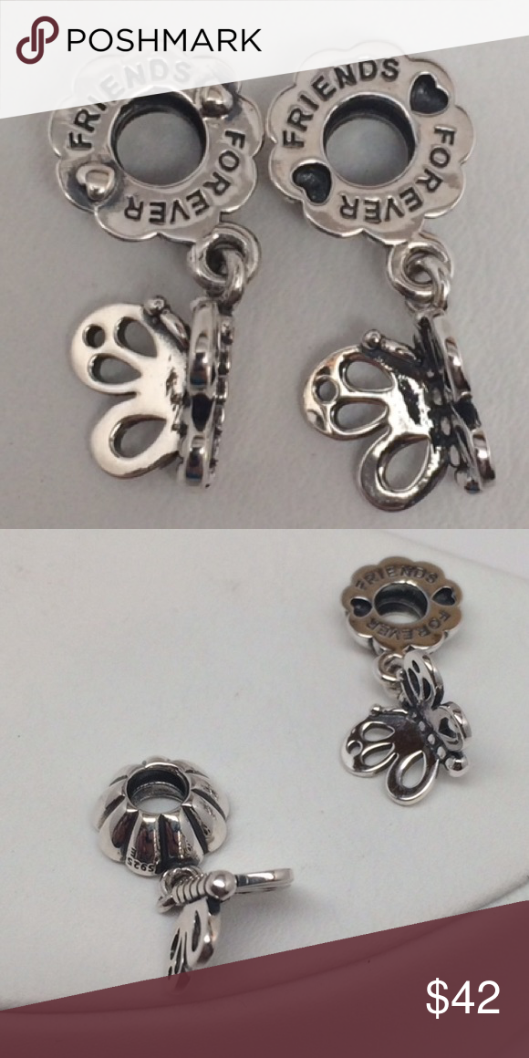 New Pandora Best Friend Butterflies Dangle 2 pcs This is a Brand New Authentic Pandora Charm.   Comes in A Pandora Pouch or Paper Pandora Box. Both suitable for gifting.   No Trades. Please.   All Hallmarked and properly stamped.  If any questions or concerns please drop me a note.   Hard Box Sold Separately.   Thanks and Happy Shopping.   Oh, if you need anything special just let me know and I will do my best to get you what you want. Pandora Jewelry Bracelets