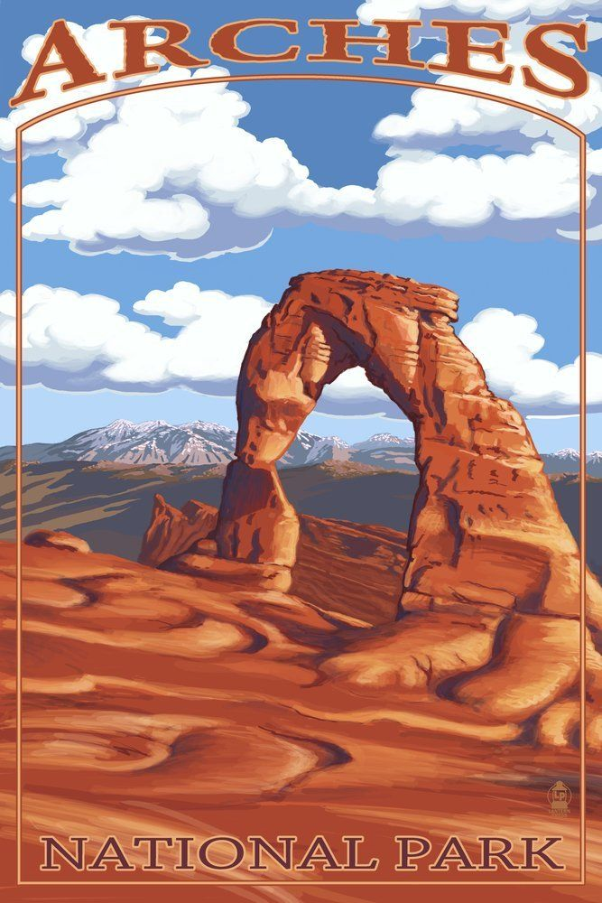 Arches National Park Utah Delicate Arch Day Scene 24x36 Giclee Gallery Print Wall Decor Trav National Park Posters National Parks Vintage Travel Posters