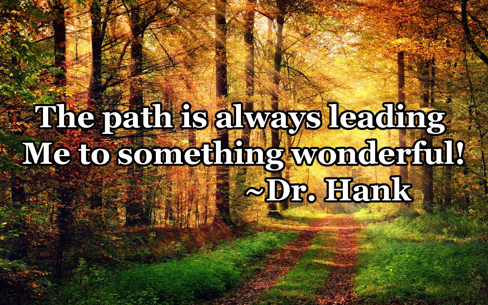 The Path Is Always Leading Me To Something Wonderful! Inspirational Quote  By Dr. Hank