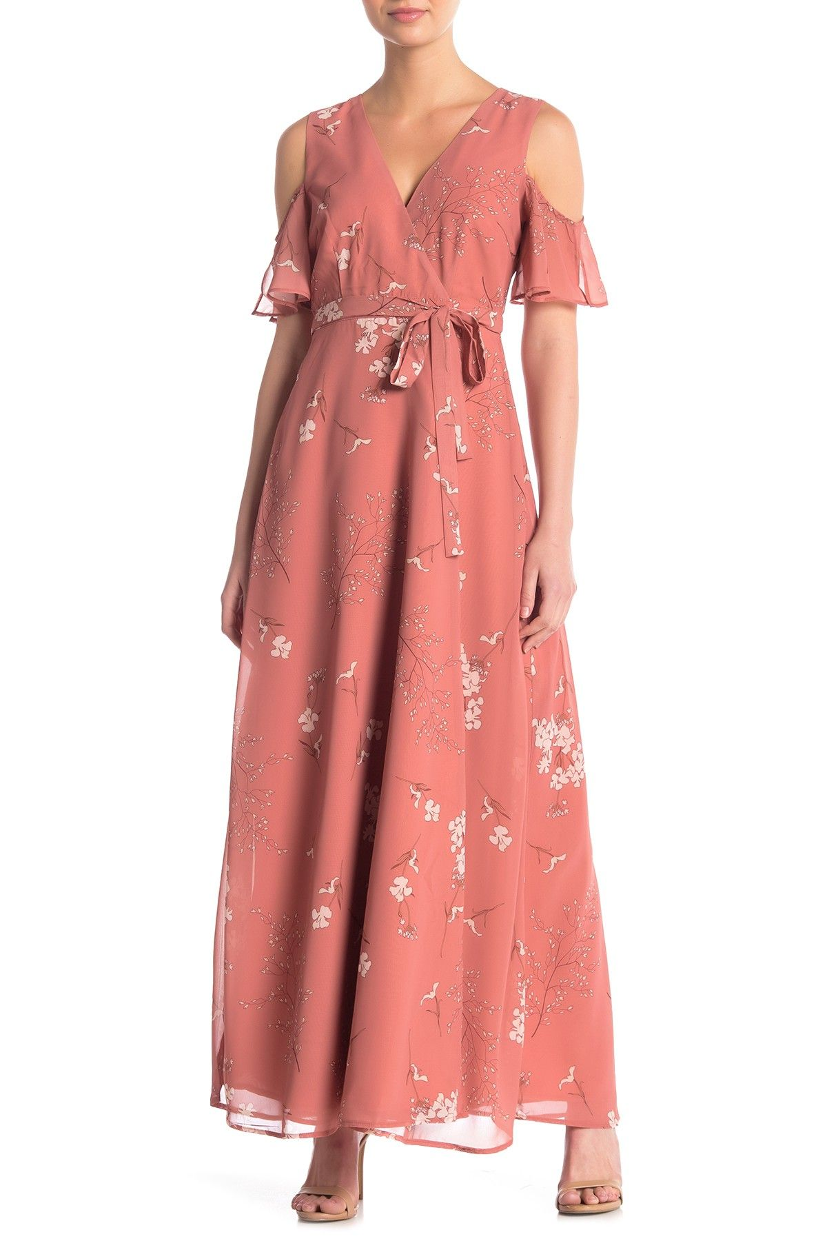 BB Dakota | Lalah Floral Cold Shoulder Wrap Maxi Dress #nordstromrack